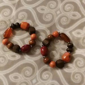 Jewelry - 2 stretch wooden bead bracelets